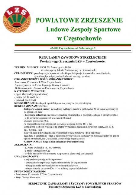 ZAWODY STRZELECKIE Powiatowego Zrzeszenia LZS w Częstochowie