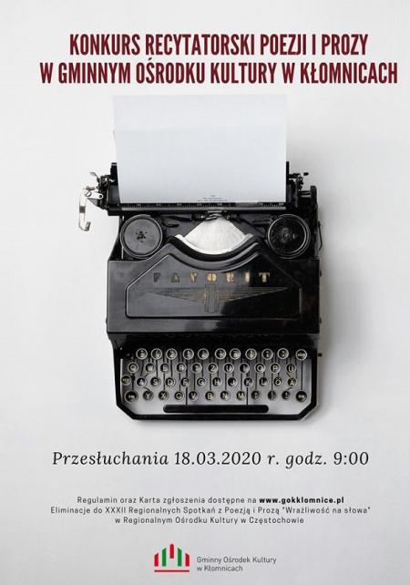 Konkurs Recytatorski Poezji i Prozy w GOK