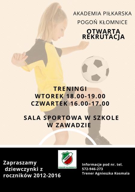 Nabór do dziewczęcej drużyny piłkarskiej