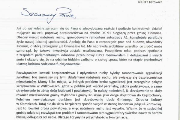 Kolejna interwencja Wójta Piotra Juszczyka w sprawie DK 91